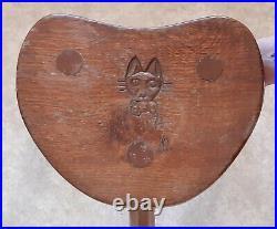 Vintage English Cat & Mouseman Oak Calf Stool Lyndon Hammell Ex Robert Thompson