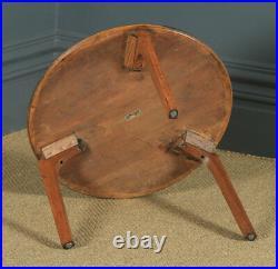 Vintage English Circular Round Oak Coffee Side Sofa Table by Herbert E. Gibbs