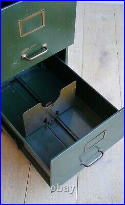 Vintage English Filing Cabinet With Brass Details