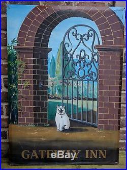 Vintage English Gateway Inn Pub Sign with Brick Arch, Iron Gate & Siamese Cat