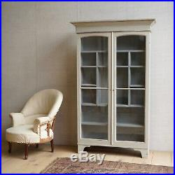 Vintage English Grey Painted Glass Cabinet Cupboard Bookcase