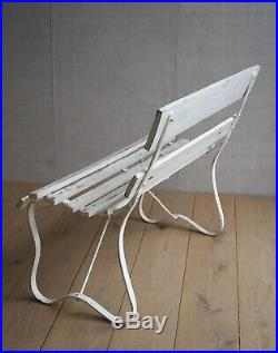 Vintage English Iron Bench With Slatted Seat