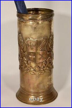 Vintage English Lion Coat of Arms Brass Umbrella Stand / Cane Holder