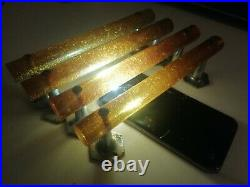 Vintage English Phenolic Glitter Sparkle Bakelite Door Handles Art Deco 303 grms