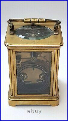 Vintage-English Repeater Carriage Clock With Lever Escapement-GWO With Key-c1920