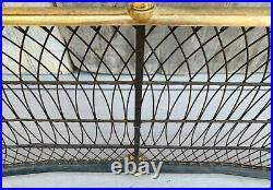 Vintage English Serpentine Wire & Brass Fireplace Fender Ball Finials & Paw Feet