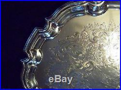 Vintage English Silver Chippendale Chased Medium Sz Sheffield Silver Salver Tray