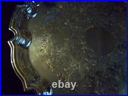 Vintage English Silver Chippendale Chased Sheffield Silver Salver Tray Super