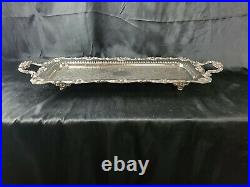 Vintage English Silver MFG CORP Silver Plated Footed Serving Tray 30Made In USA