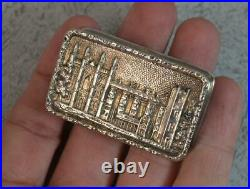 Vintage English Sterling Silver CASTLE TOP Snuff or Pill Box