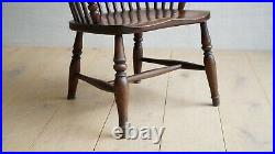 Vintage English Victorian 1850's Lincolnshire Windsor Ash And Elm Armchair