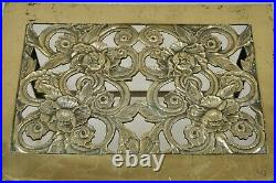 Vintage English Victorian Brass Fireplace Footman Trivet with Floral Scrollwork