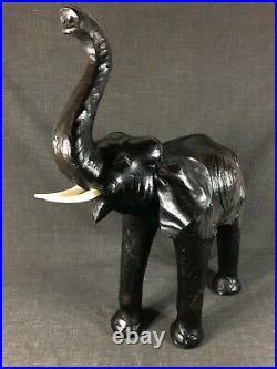 Vintage English XXL LEATHER Animal Sculpture Elephant Mid Century 50s Era Omersa