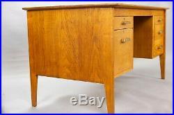 Vintage English oak pedestal desk by Gordon Russell 1950s retro mid-century