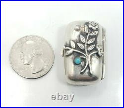 Vintage Estate Ari Norman Sterling Silver 925 English Flower Turquoise Pill Box