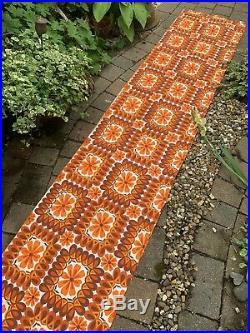 Vintage Fabric 1960s 1970s Retro Orange Daisy Flowers English Printed Remnant XL