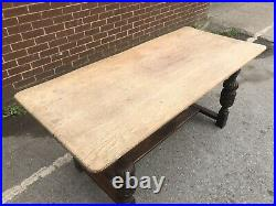 Vintage Farmhouse Oak Planked Top Refectory Dining Table Carved Legs