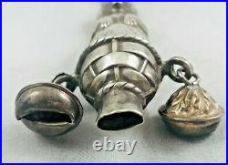 Vintage Figural Rabbit English Sterling Large Baby Rattle withRing