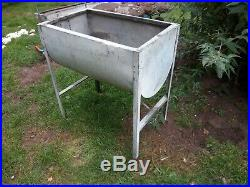 Vintage Galvanised Dairy Wash Sink Flower herb Planter On Legs Water Trough Tank