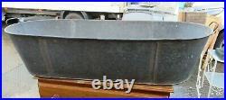 Vintage Galvanised Tin BathPlanterRusticLog BinDog BathLargeGood Condition