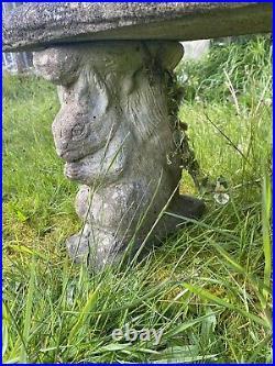 Vintage Garden Seat With Grey Squirrel Plinths