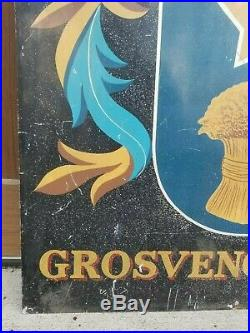 Vintage Grosvenor Arms Handpainted English Coat of Arms Pub Sign withHunting Dog