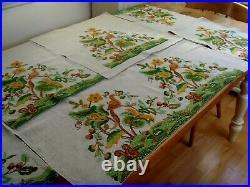 Vintage Hand Embroidered Tablecloth /runner Panels Jacobean Bird Squirrel Flora
