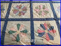 Vintage Hand Stitched Hand Made Star Double Bed Eiderdown Quilt Patchwork Throw