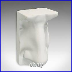 Vintage Haut Relief Sculpture, English, Plaster, Portrait, Nose, 20th Century