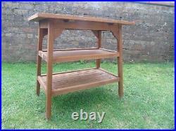 Vintage Hughes Bolckow Battleship Burma Teak Indoor/ Garden Table Arts Crafts