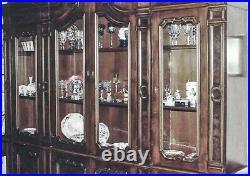 Vintage Hutch/Cabinet Englands Finest Burled Walnut Breakfront For Fine China