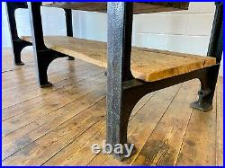 Vintage Industrial Cast Iron English Factory Table Kitchen Island Work Bench
