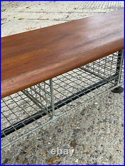 Vintage Industrial Wooden and Wire Pigeon Hole Shoe Rack School Gym Bench