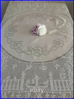 Vintage Irish linen and crochet lace tablecloth Mary Card The Garden No68