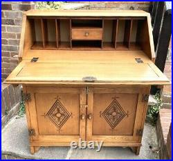 Vintage Jaycee Quality Carved Light Oak Bureau Writing Desk, 70s. Acorn Handles