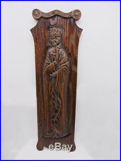 Vintage KING 42 Relief Carved Oak Panel Architectural Salvage English Church