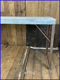 Vintage Long Large Industrial Console Bar Dining Kitchen Metal Zinc Top Table
