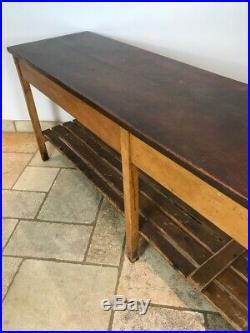 Vintage Long School Science Teak Top Lab Table Drapers Table 1950's
