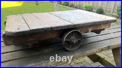 Vintage MINI INDUSTRIAL TROLLEY Railway platform Heavy with Glass top