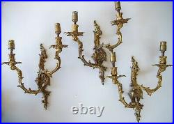 Vintage Matching Set 3 Rococo Style Twin Branch Cast Brass Wall Lights, English