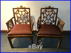 Vintage Mid Century Chinese Chippendale Faux Bamboo Armchair By Century
