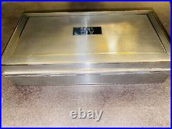 Vintage Mid-Century English Sterling Silver Humidor or Jewelry Box