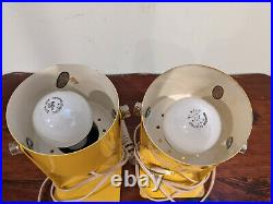 Vintage Mid Century Modern Pair 2 Metal Yellow Wall Sconce Light Fixture Lamp