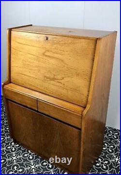 Vintage Old English Oak Writing Desk Cabinet Retro Style Bureau