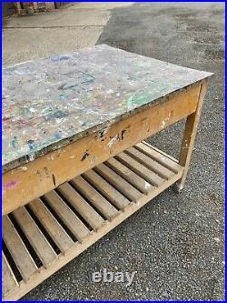 Vintage Paint Splattered Art School Table Prep Lab Table Dining Kitchen Island