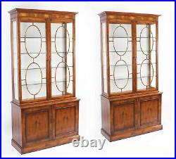Vintage Pair English Yew Wood Library Bookcases Display Cabinets 20th C