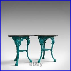 Vintage, Pair, Granite, Cafe, Table, English, Cast Iron, Garden, Dominic Hurley