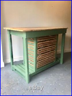 Vintage Pine Kitchen Island Scratch Built English Potting Table With Drawers