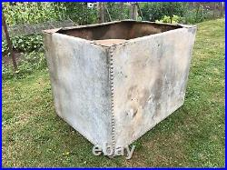 Vintage Riveted Galvanised Steel Water Tank. Ideal as Garden Planter