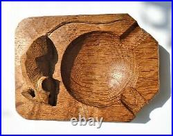 Vintage Robert Mouseman Thompson Oak Ashtray. Hand Carved With Signature Mouse